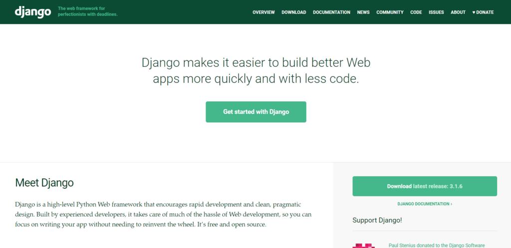 Django web app framework